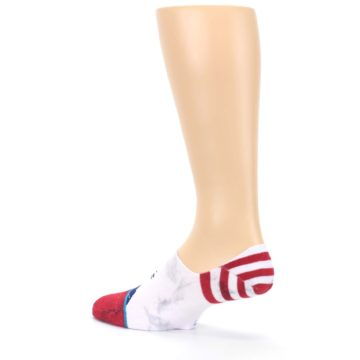 Image of White Blue Red Lady Liberty Men's No Show Liner Socks (side-2-back-14)
