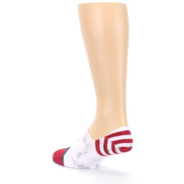 Image of White Blue Red Lady Liberty Men's No Show Liner Socks (side-2-back-15)