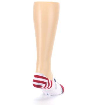 Image of White Blue Red Lady Liberty Men's No Show Liner Socks (side-1-back-20)