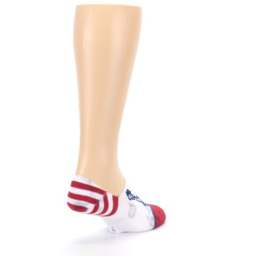 Image of White Blue Red Lady Liberty Men's No Show Liner Socks (side-1-back-21)