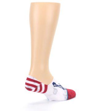 Image of White Blue Red Lady Liberty Men's No Show Liner Socks (side-1-back-22)
