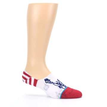Image of White Blue Red Lady Liberty Men's No Show Liner Socks (side-1-25)