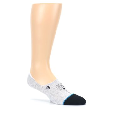Image of Gray Black Teal Miss Merica Men's No Show Liner Socks (side-1-26)