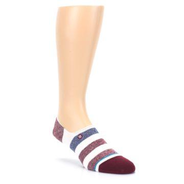 Image of Heathered Red Blue White Stripes Men's No Show Liner Socks (side-1-front-02)