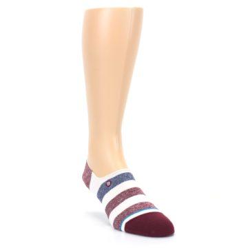 Image of Heathered Red Blue White Stripes Men's No Show Liner Socks (side-1-front-03)