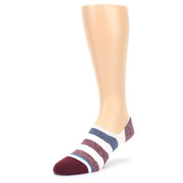 Image of Heathered Red Blue White Stripes Men's No Show Liner Socks (side-2-09)