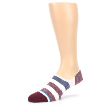 Image of Heathered Red Blue White Stripes Men's No Show Liner Socks (side-2-10)