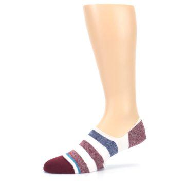 Image of Heathered Red Blue White Stripes Men's No Show Liner Socks (side-2-11)
