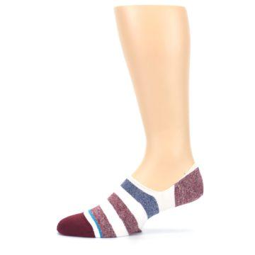 Image of Heathered Red Blue White Stripes Men's No Show Liner Socks (side-2-12)