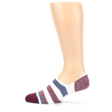 Image of Heathered Red Blue White Stripes Men's No Show Liner Socks (side-2-13)