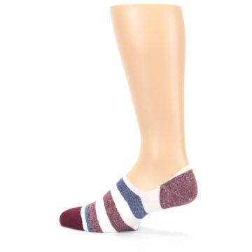 Image of Heathered Red Blue White Stripes Men's No Show Liner Socks (side-2-back-14)