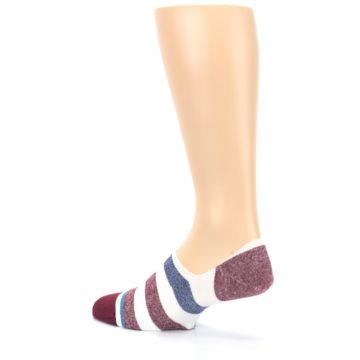 Image of Heathered Red Blue White Stripes Men's No Show Liner Socks (side-2-back-15)
