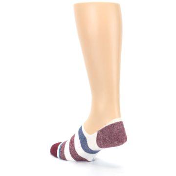 Image of Heathered Red Blue White Stripes Men's No Show Liner Socks (side-2-back-16)