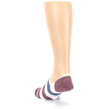 Image of Heathered Red Blue White Stripes Men's No Show Liner Socks (back-17)