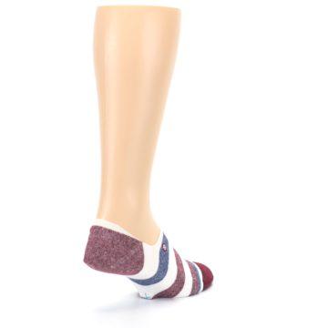 Image of Heathered Red Blue White Stripes Men's No Show Liner Socks (side-1-back-22)
