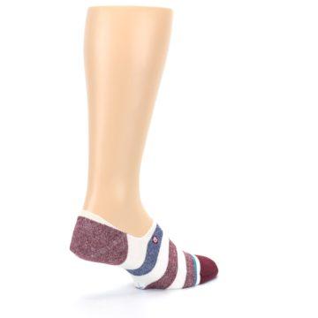 Image of Heathered Red Blue White Stripes Men's No Show Liner Socks (side-1-23)