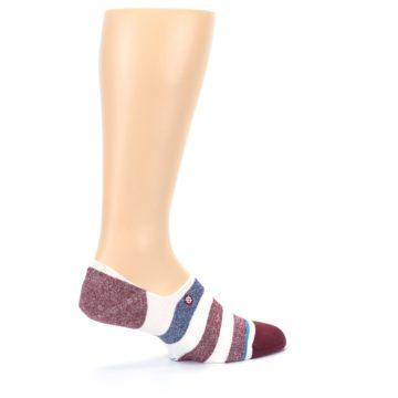 Image of Heathered Red Blue White Stripes Men's No Show Liner Socks (side-1-24)