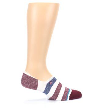 Image of Heathered Red Blue White Stripes Men's No Show Liner Socks (side-1-25)