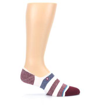 Image of Heathered Red Blue White Stripes Men's No Show Liner Socks (side-1-26)