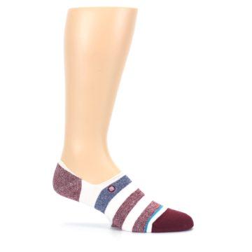 Image of Heathered Red Blue White Stripes Men's No Show Liner Socks (side-1-27)