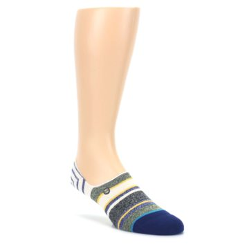 LARGE-Heathered-Blue-Yellow-White-Stripes-Mens-No-Show-Liner-Socks-STANCE