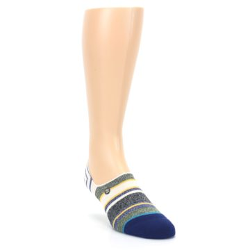 Image of Heathered Blue Yellow White Stripes Men's No Show Liner Socks (side-1-front-02)