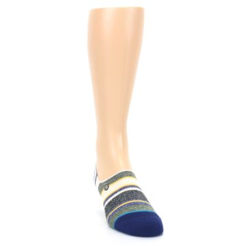 Image of Heathered Blue Yellow White Stripes Men's No Show Liner Socks (side-1-front-03)