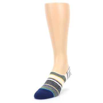 Image of Heathered Blue Yellow White Stripes Men's No Show Liner Socks (side-2-front-07)