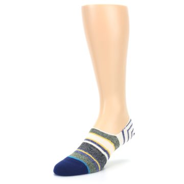 Image of Heathered Blue Yellow White Stripes Men's No Show Liner Socks (side-2-front-08)