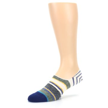 Image of Heathered Blue Yellow White Stripes Men's No Show Liner Socks (side-2-09)