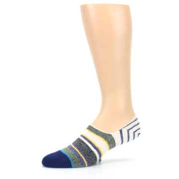 Image of Heathered Blue Yellow White Stripes Men's No Show Liner Socks (side-2-10)