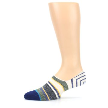 Image of Heathered Blue Yellow White Stripes Men's No Show Liner Socks (side-2-11)