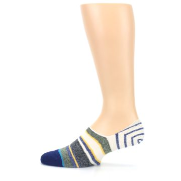 Image of Heathered Blue Yellow White Stripes Men's No Show Liner Socks (side-2-12)