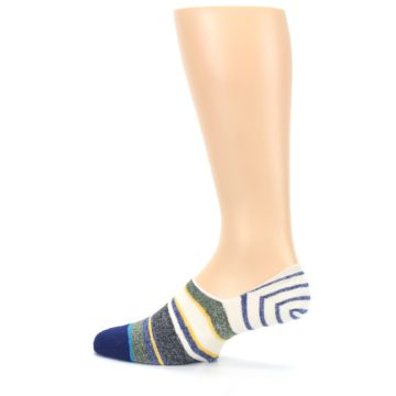 Image of Heathered Blue Yellow White Stripes Men's No Show Liner Socks (side-2-13)