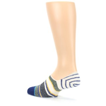 Image of Heathered Blue Yellow White Stripes Men's No Show Liner Socks (side-2-back-14)