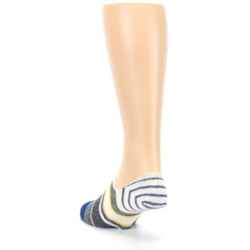 Image of Heathered Blue Yellow White Stripes Men's No Show Liner Socks (side-2-back-16)