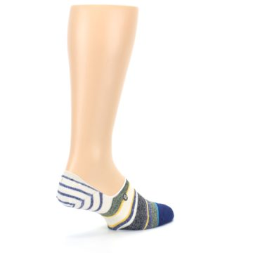 Image of Heathered Blue Yellow White Stripes Men's No Show Liner Socks (side-1-back-22)