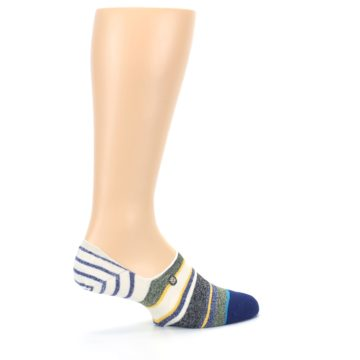 Image of Heathered Blue Yellow White Stripes Men's No Show Liner Socks (side-1-23)