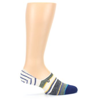 Image of Heathered Blue Yellow White Stripes Men's No Show Liner Socks (side-1-24)