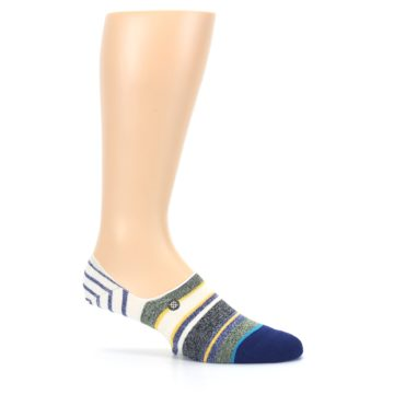 Image of Heathered Blue Yellow White Stripes Men's No Show Liner Socks (side-1-25)