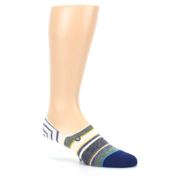 Image of Heathered Blue Yellow White Stripes Men's No Show Liner Socks (side-1-26)