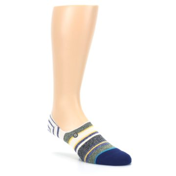 Image of Heathered Blue Yellow White Stripes Men's No Show Liner Socks (side-1-27)