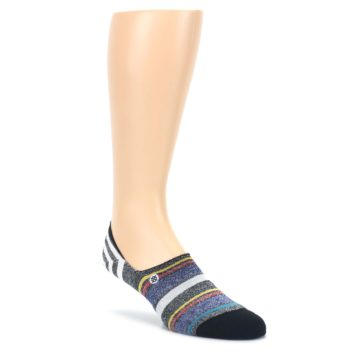 LARGE-Black-White-Yellow-Red-Stripes-Mens-No-Show-Liner-Socks-STANCE
