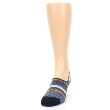 Image of Black White Yellow Red Stripes Men's No Show Liner Socks (side-2-front-06)