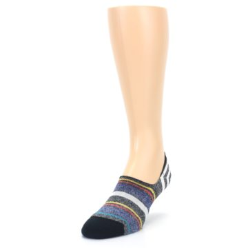 Image of Black White Yellow Red Stripes Men's No Show Liner Socks (side-2-front-07)