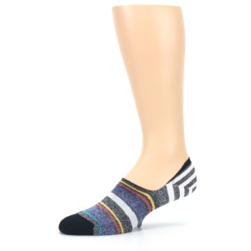 Image of Black White Yellow Red Stripes Men's No Show Liner Socks (side-2-10)