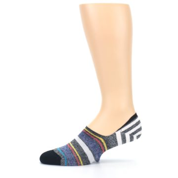 Image of Black White Yellow Red Stripes Men's No Show Liner Socks (side-2-11)