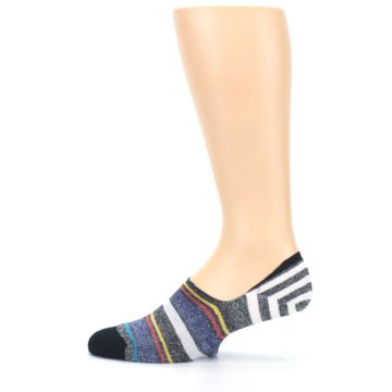 Image of Black White Yellow Red Stripes Men's No Show Liner Socks (side-2-12)