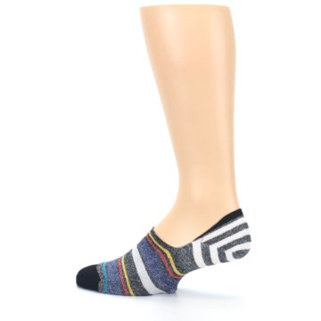 Image of Black White Yellow Red Stripes Men's No Show Liner Socks (side-2-13)