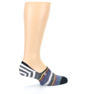 Image of Black White Yellow Red Stripes Men's No Show Liner Socks (side-1-23)